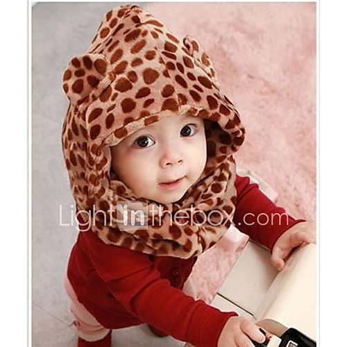 bébé léopard velours corail chapeau avec un châle à double morceau épais