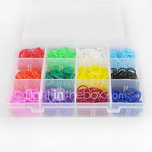 1200pcs cores do arco-íris do estilo tear twistz diy pulseiras de borracha de silicone conjunto com um pacote s-clips 16color