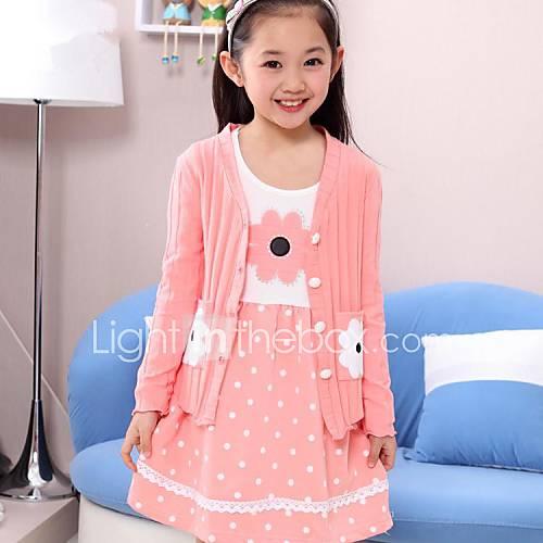 menina-de-vestido-sueter-cardigan-conjunto-estampado-algodao-inverno-primavera-outono-rosa