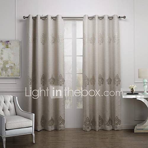 European Two Panels Geometic Off White Coffee Living Room Linen Blend Panel Curtains Drapes