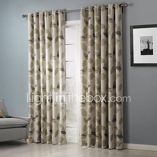 dois-paineis-rustico-folha-beje-quarto-poliester-cortinas-cortinas