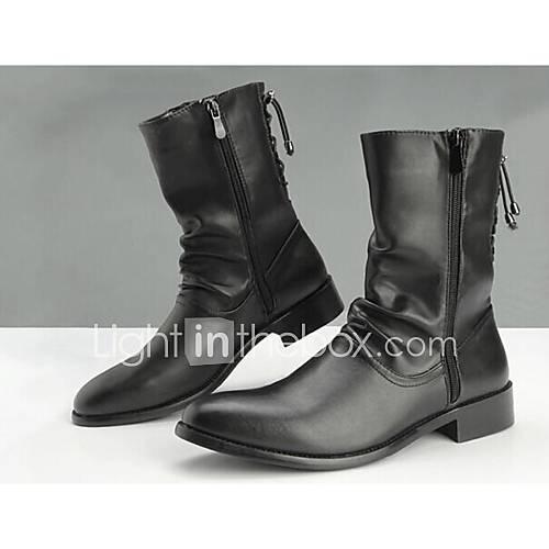 Les chaussures pour hommes orteil pointu bottes à talons bas moto de la cheville
