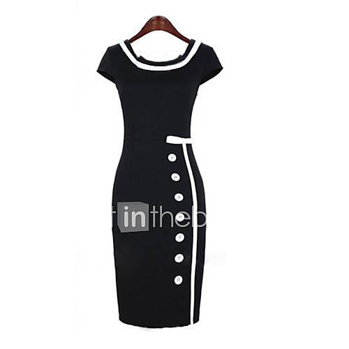 vrouwen-vierkante-korte-mouw-bodycon-midi-jurk-met-knopen