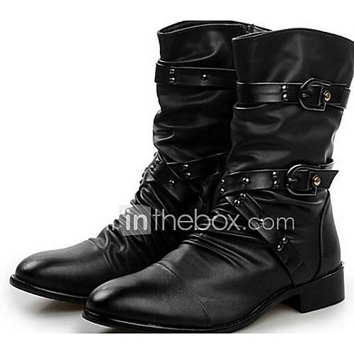 Les chaussures pour hommes orteil pointu bottes à talons bas en cuir de moto de la cheville