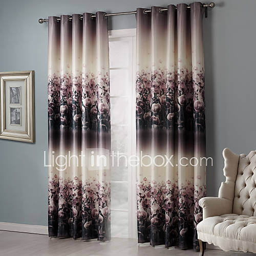 Two Panels Country Floral Botanical Black Bedroom Polyester Blackout Curtains Drapes 1971331