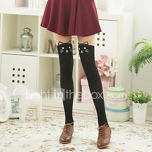 Women's Stitching Knee Cats Head Pantyhose Descuento en Lightinthebox