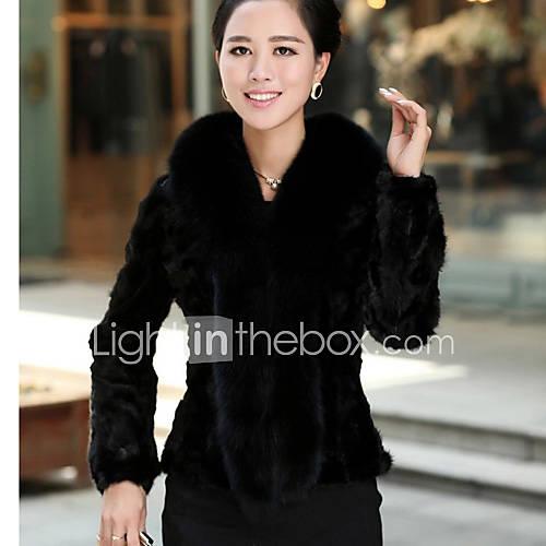 hansifei cor sólida elegante equipado coat_134 pele do falso