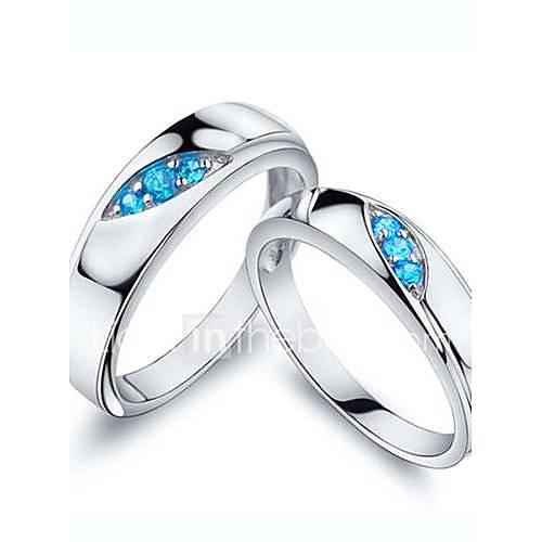 Anéis Casamento / Pesta / Diário / Casual Jóias Prata de Lei / Zircão Casal Anéis de Casal5 / 6 / 7 / 8 / 9 / 10 / 8½ / 9½ / 10¼ Prateado