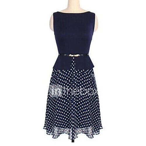melos-vestir-das-mulheres-redondas-do-pescoco-chiffon-bolinhas