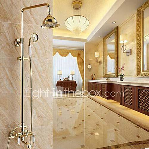 Traditional Ti-PVD Wall Mount   Two Handles Rain  Shower Faucet