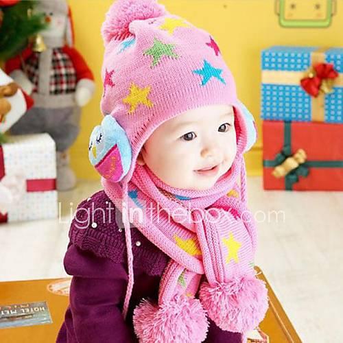 Lovely Fashion étoiles hibou chaude écharpe chapeau deux pièces de jeu pour enfants