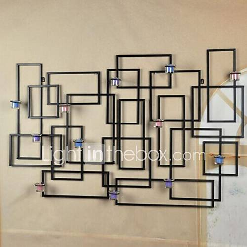 Geometric Metal Wall Decor : Metal wall art decor geometric candlestick