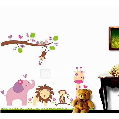 Zooyoo removable beautiful cute branch and animals wall sticker home decor wall stickers for for Beautiful wall stickers for living room