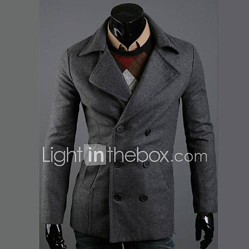 Men's Fashion Casual Double-Breasted Wool Coat