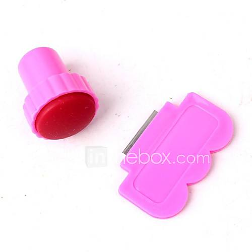 2pcs kit de marquage de nail art diy (1pc timbre&1pc grattoir en acier inoxydable)