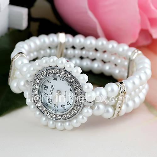 Mujer Reloj de Moda Cuarzo Plastic Banda Perlas Blanco Marca- Descuento en Lightinthebox