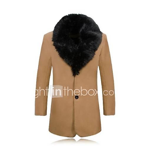 skymoto herren tweed pelzkragen fleecefutter mantel. Black Bedroom Furniture Sets. Home Design Ideas