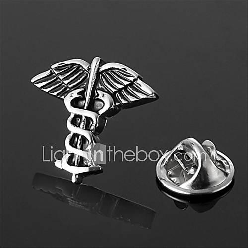 caducée médecin médecin symbole argent revers badge emblème de broches hommes noirs