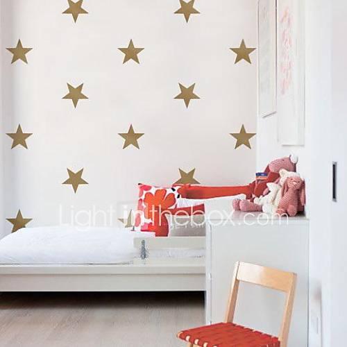 ouro jiubai parede estrela adesivos de parede decalque, 15cm / coração, 16stars / set