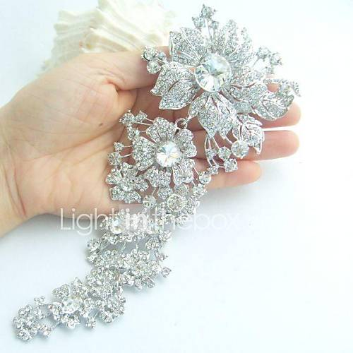 women-trendy-alloy-silver-tone-rhinestone-crystal-flower-wedding-bridal-brooch-pin