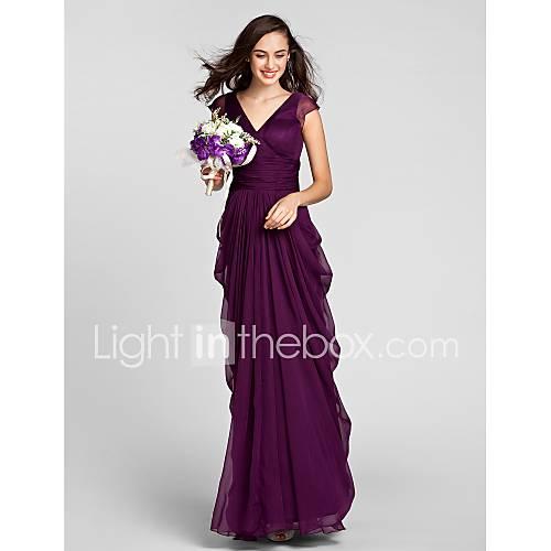 Lanting Bride Hasta el Suelo Raso Vestido de Dama de Honor - Funda / Columna Cuello en V Talla Grande / Pequeña conCinta / Lazo / Descuento en Lightinthebox
