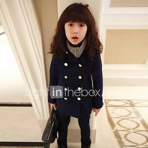 veste manteau fille de couleur pleine m lange de coton hiver printemps automne bleu de. Black Bedroom Furniture Sets. Home Design Ideas