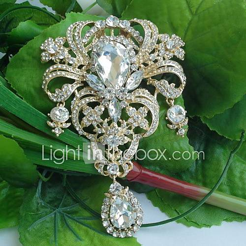 women-classic-alloy-gold-tone-clear-rhinestone-crystal-flower-bridal-brooch-pin