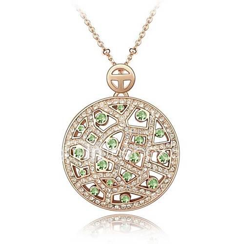 colar curto da senhora senhora lua revestida com ouro rosa 18k peridoto cristalizado strass cristal austríaco