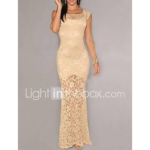 Women's Nude Sexy Lace Party Long Dress