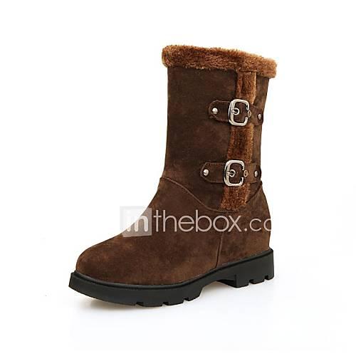 Chaussures femmes bout rond bottes talon compensé la cheville avec boucle plus de couleurs disponibles