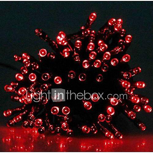 Solar Powered Led String Lights Red : 17M 100-LED Solar Powered Christmas Lights String Lamp Lndoor Outdoor Flashing Light Strip - Red ...
