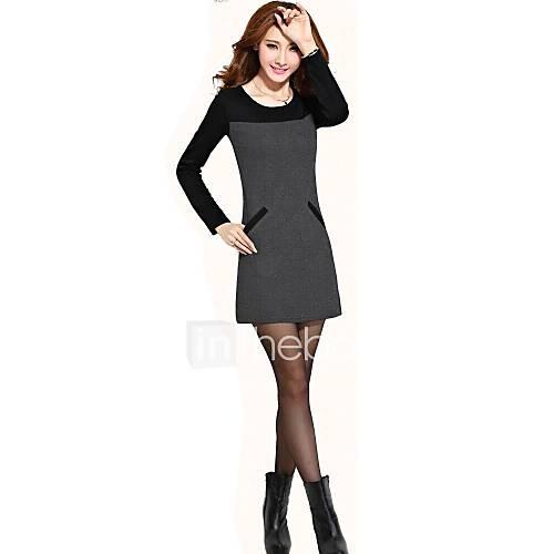 Women's Round Collar Patchwork Fleece Long Sleeve Dress (More Colors)