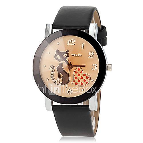 Mujer Reloj de Moda Cuarzo PU Banda Caricaturas Negro / Naranja Marca- Descuento en Lightinthebox
