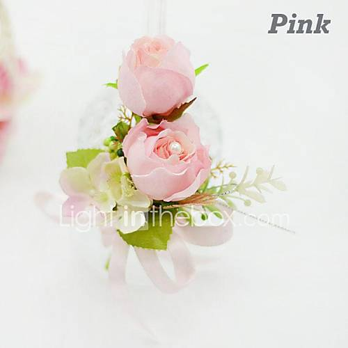 Double Rose  Silk Wedding Boutonniere   (More Colors) Descuento en Lightinthebox