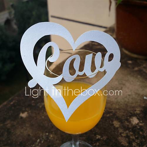 24pcs Laser Cut Love Heart Cup Name Place Escort Card for Wine Glass Wedding Baby Shower Christmas Party Decoration