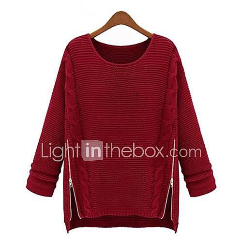 Mujer Largo PulloverUn Color Azul / Rojo / Beige / Negro Manga Larga Algodón Otoño / Invierno Medio Microelástico Descuento en Lightinthebox