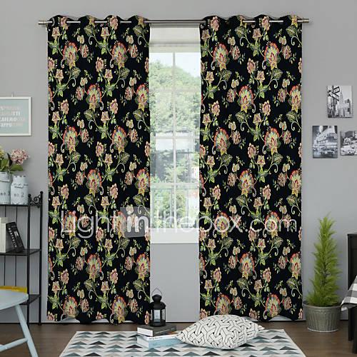 desenhador-pais-dois-paineis-florais-botanico-quarto-multi-cor-cortinas-de-painel-de-poliester-cortinas