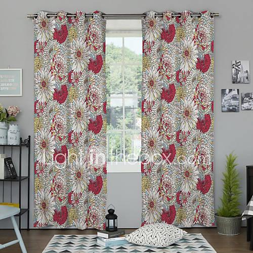 d grad de couleur grandes motif fleurs rideaux opaques deux panneaux de 2363738 2016. Black Bedroom Furniture Sets. Home Design Ideas