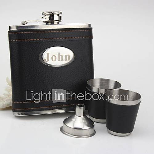 de acero inoxidable personalizada frasco negro conjunto de 6 ozgift Descuento en Lightinthebox