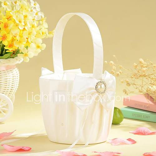 Flower Girl Baskets Ivory Uk : Flower basket in ivory satin with bow and faux peal