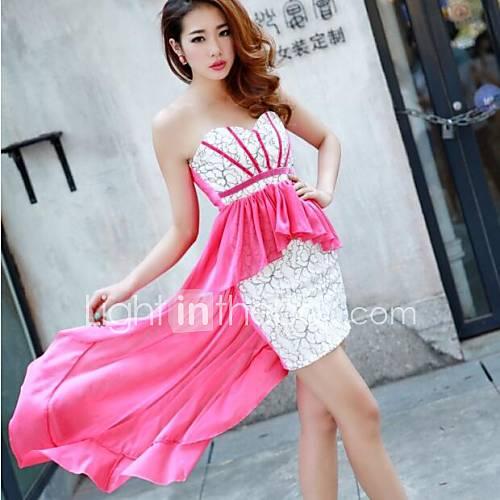 Women's Strapless Stitching Lace Chiffon Dress