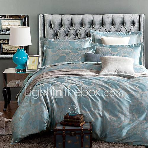 betterhome housse de couette housse de couette confort luxe 4 pi ce moderne de soie jacquard de. Black Bedroom Furniture Sets. Home Design Ideas