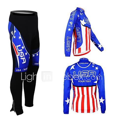 kooplus primavera unisex outono personalizado ciclismo roupa america jersey de manga longa e calça de ciclismo de poliéster terno