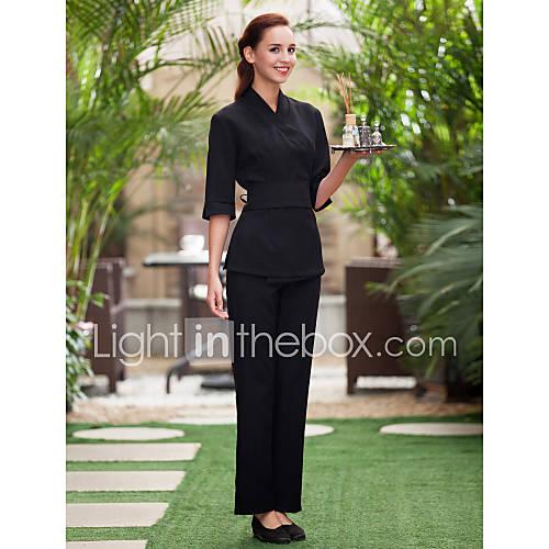 Spa uniforms women s 3 4 sleeve collar crossover tunic for Uniform spa malaysia
