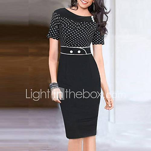 Women's Round Collar Polka Dots Splicing Pencil Dress Descuento en Lightinthebox