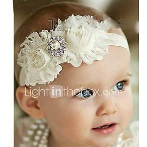 9PCS children shabby frayed fabric chiffon red flower with pearl alloy button baby girls headband kids accessories