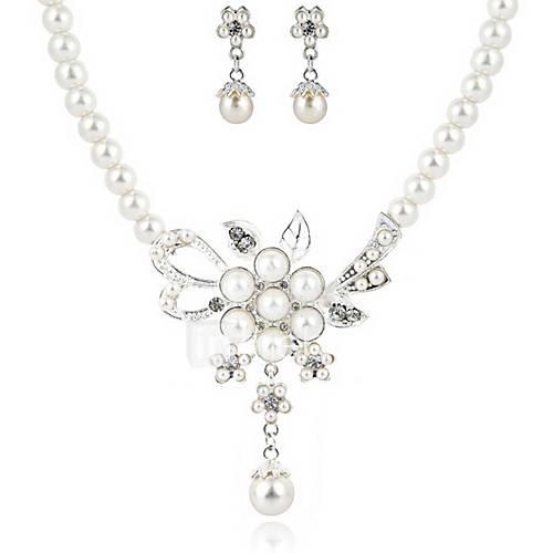 Conjunto de joyas De mujeres Aniversario / Boda / Pedida Sets de Joya Perla Artificial / Diamantes Sintéticos Collares / Pendientes Plata Lightinthebox