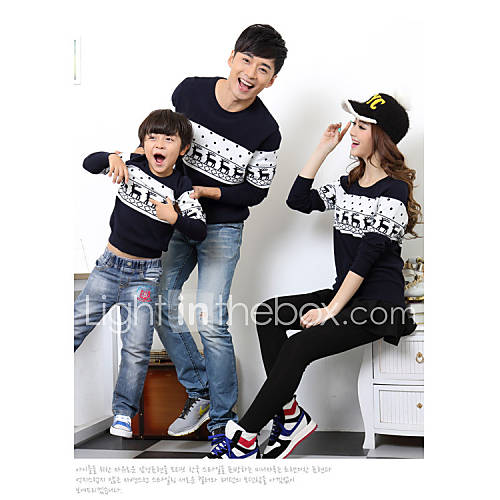 family-fashion-contracted-color-matching-parent-child-long-sleeve-knitwear