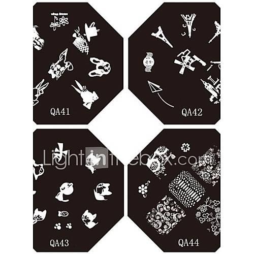 1pc nouvelles plaques de dentelle conception ongles estampage plaques d'image frenchy de bande dessinée pour ongles diy art décorations (motif