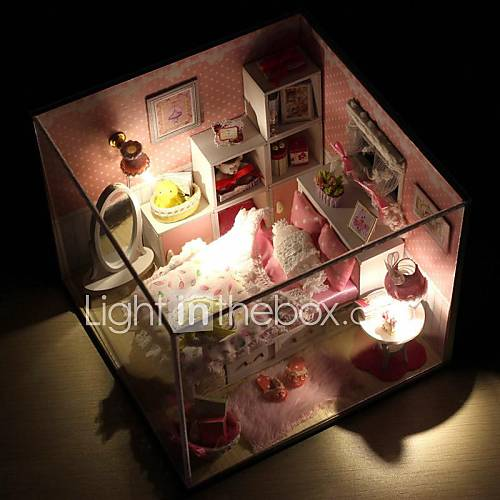 Mini-Villa Pink LED Light Princess Bedroom Model DIY